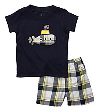 Carter's® Baby Boys' Navy Plaid Submarine Shorts Set