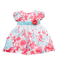 Rare Editions® Baby Girls' Coral/Blue Floral Bubble Sleeve Dress