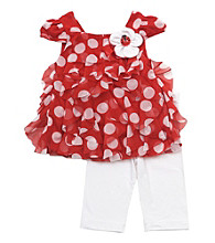 Rare Edition's Baby Girls' Red/White Dot Tier Leggings Set