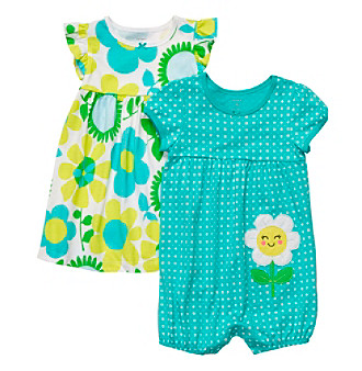 Carter's® Baby Girls' Turquoise 2-pk. Flower Romper and Dress