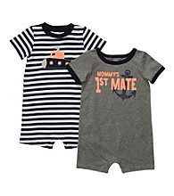 Carter's® Baby Boys' Navy/Grey 2-pk. First Mate Rompers