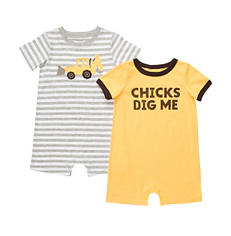"Carter's® Baby Boys' Yellow 2-pk. ""Chicks Dig Me"" Rompers"