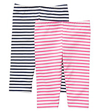 Carter's® Baby Girls' Pink/Navy Striped 2-pk. Capri Leggings