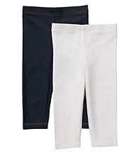 Carter's® Baby Girls' White/Navy Heather 2-pk. Capri Leggings