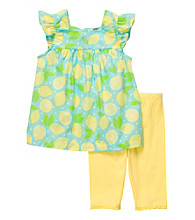 Carter's® Baby Girls' Blue/Yellow Lemon Print Capri Set