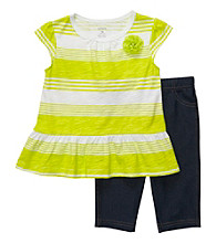 Carter's® Baby Girls' Lime Green Striped Capri Set