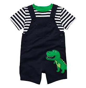 Carter's® Baby Boys' Navy T-Rex Shortall Set