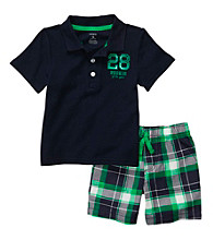 Carter's® Baby Boys' Navy Plaid Polo and Shorts Set