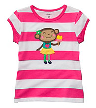 Carter's® Baby Girls' Pink Striped Short Sleeve Monkey Tee