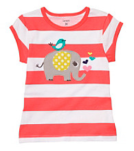 Carter's® Baby Girls' Coral Striped Short Sleeve Elephant Tee