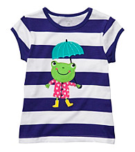 Carter's® Baby Girls' Purple Striped Short Sleeve Frog Tee