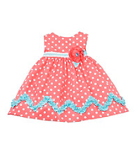 Rare Editions® Girls' 2T-6X Coral Polka-Dot Woven Dress