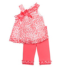 Rare Editions® Girls' 2T-4T Coral Cheetah Print Leggings Set