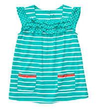 Carter's® Girls' 2T-4T Teal/White Striped Short Sleeve Tunic