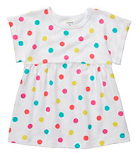 Carter's® Girls' 2T-4T White Short Sleeve Polka-Dot Tee