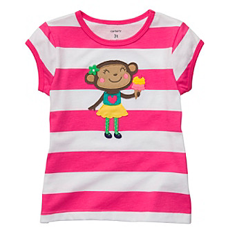 Carter's® Girls' 4-6X Pink/White Striped Short Sleeve Monkey Tee