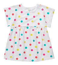 Carter's® Girls' 4-6X White Short Sleeve Polka-Dot Tee