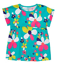 Carter's® Girls' 4-6X Teal Short Sleeve Floral Tee