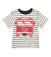 Carter's® Boys' 2T-7 Grey Striped Short Sleeve Firetruck Tee