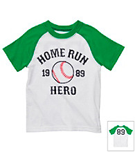 Carter's® Boys' 2T-7 White/Green Short Sleeve Homerun Raglan Tee