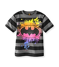 Batman® Boys' 4-16 Black Striped Short Sleeve Screenprint Tee