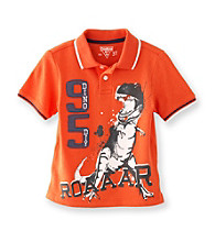 OshKosh B'Gosh® Boys' 2T-4T Orange Short Sleeve Dino Pique Polo