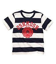 OshKosh B'Gosh® Boys' 2T-7 White/Navy Striped Short Sleeve Varsity Tee