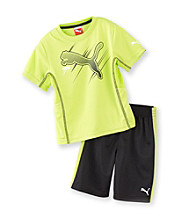 PUMA® Boys' 2T-7 Lime/Black 2-pc. Swift Cat Shorts Set