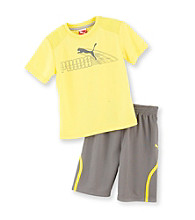 PUMA® Boys' 2T-7 Yellow/Grey 2-pc. Ray Shorts Set