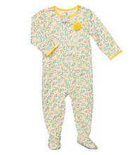 Carter's® Girls' 12M-2T Yellow Floral Print Footie Pajamas