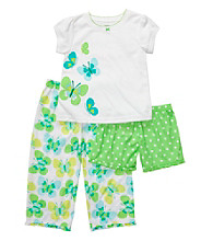 Carter's® Girls' 12M-4T White/Green 3-pc. Butterfly Pajama Set