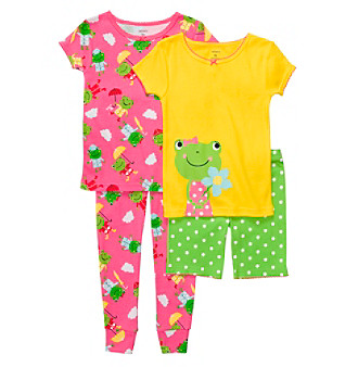 Carter's® Girls' 12M-4T Pink/Yellow/Green 4-pc. Frog Pajama Set