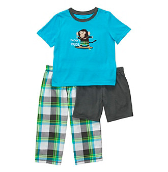 Carter's® Boys' 12M-4T Turquoise Plaid 3-pc. Monkey Pajama Set