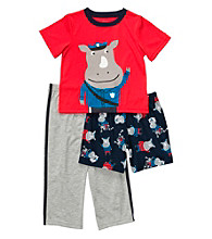 Carter's® Boys' 12M-4T Red/Grey 3-pc. Policeman Rhino Pajama Set