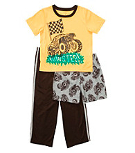 Carter's® Boys' 4-12 Brown/Yellow 3-pc. Monster Truck Pajama Set