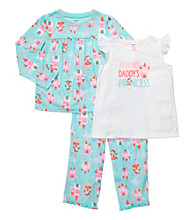 Carter's® Girls' 4-14 Blue 3-pc. Castle Print Pajama Set