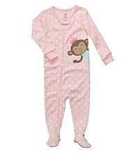 Carter's® Baby Girls' Pink Polka-Dot Monkey Footie Pajamas