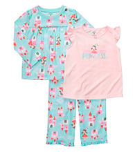 Carter's® Girls' 12M-3T Blue/Pink 3-pc. Castle Print Pajama Set