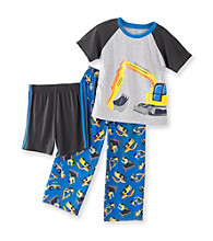 Carter's® Boys' 4-12 Grey/Blue 3-pc. Construction Pajama Set