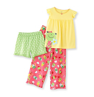 Carter's® Girls' 4-12 Yellow 3-pc. Frog Pajama Set