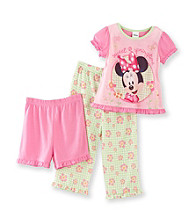 Disney® Mickey Mouse® Girls' 2T-4T Pink/Green 3-pc. Minnie Sweet as Springtime Pajama Set