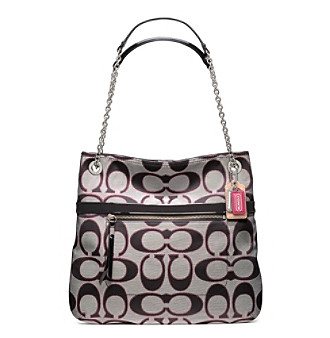 COACH POPPY METALLIC SIGNATURE SATEEN SLIM TOTE