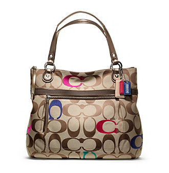 COACH POPPY EMBROIDERED SIGNATURE C GLAM TOTE
