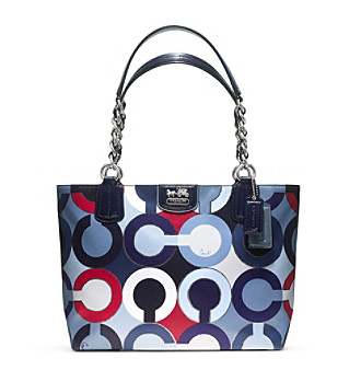 COACH MADISON GRAPHIC OP ART METALLIC TOTE