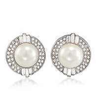 Carolee® Faux Crystal and Pearl Clip On Earrings