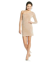 Jump® Juniors' Gold One-Shoulder Geo Shine Dress