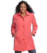 Relativity® Plus Size Single-Breasted Hooded Walker Coat