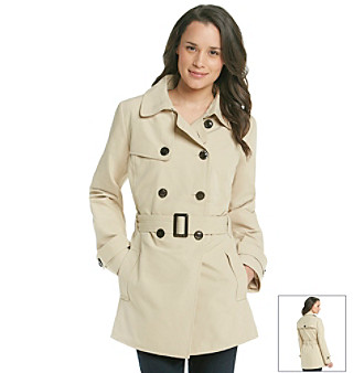 Relativity® Double-Breasted Short Trench Coat