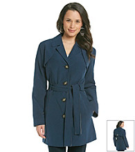 Relativity® Single-Breasted Short Trench Coat