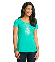 Relativity® Petites' Center Embellished Tee
